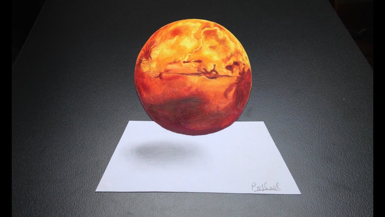 Dessiner Mars En 3d Illusion D Optique