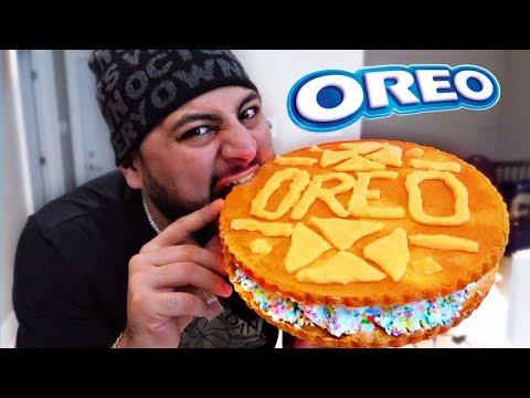 DIY GIANT GOLDEN BIRTHDAY CAKE OREO COOKIE!!