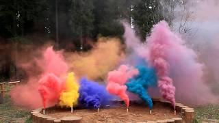 Цветной дым Mr. Smoke красный, желтый, фиолетовый, розовый, голубой, бордовый