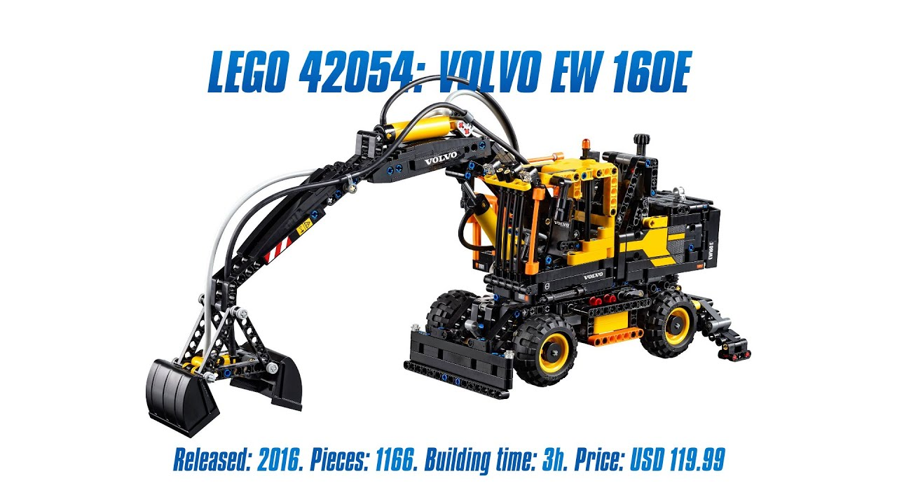 'LEGO Technic 42053: Volvo EW 160E' Unboxing, Parts List, Speed Build & Review - YouTube