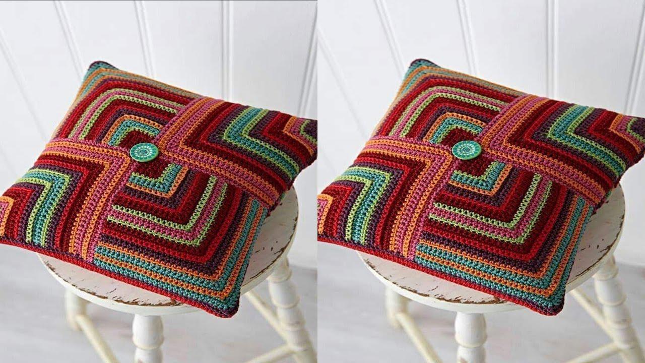 Teje cojines hechos de lana y hilo tejidos a crochet n 05 youtube - Cojines de lana ...