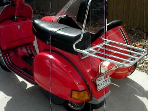 my vespa p200e with sidecar for sale walk around youtube. Black Bedroom Furniture Sets. Home Design Ideas