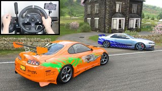 Forza Horizon 4 Drag Race: Toyota Supra vs Nissan Skyline R34 GTR (Steering Wheel) Gameplay