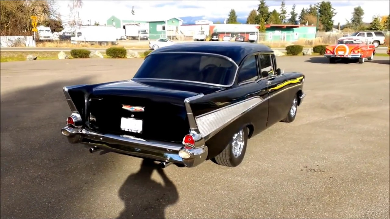 All Chevy chevy 2 2 : 1957 Chevy 2 door post black - YouTube