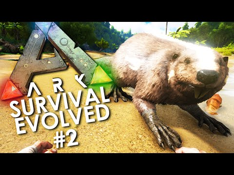 ARK: Survival Evolved - Episode 2 | BUCKTOOF The BEAVER (Taming A Castoroides) W/ Lachlan