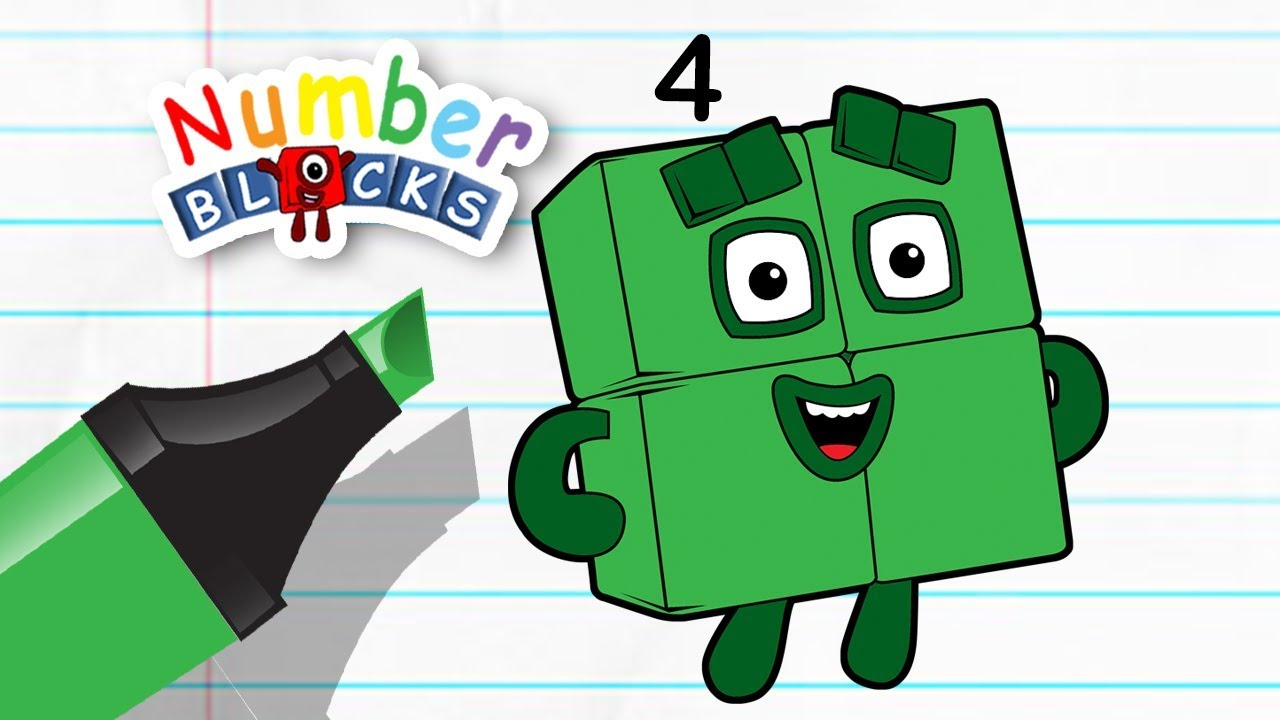 Numberblocks Coloring Pages | Numberblocks four | Drawing and ...
