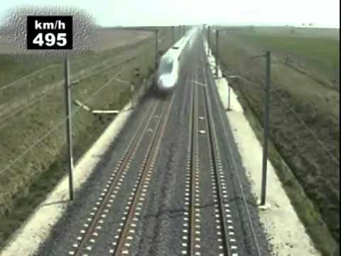 Поезд TGV POS 574,8 кмч   самый быстрый поезд в мире 3 04 2007 Просмотр видео вызывает неописуемую р