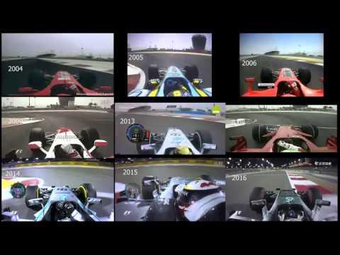 F1 onboard Bahrain - Qualifying Lap Comparison(2004~2016)