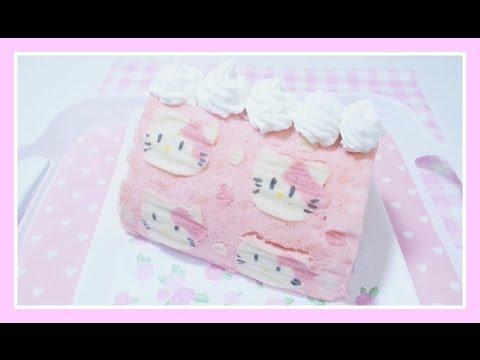 Hello Kitty Swiss Roll Deco Cake