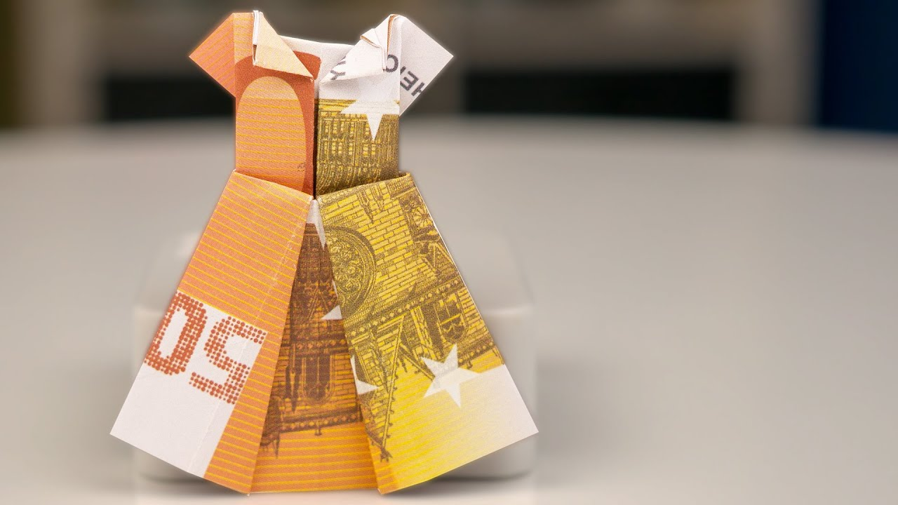 Money Gift Idea Wedding Dress Out Of Euro Banknotes