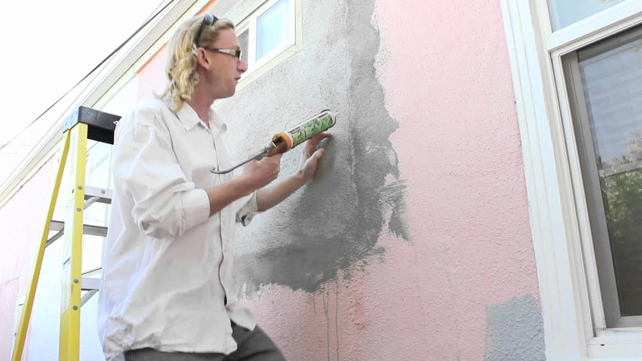 cracks in exterior plaster walls use caulking YouTube