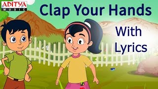 Clap Your Hands with Lyrics    Popular English Nursery Rhymes for Kids