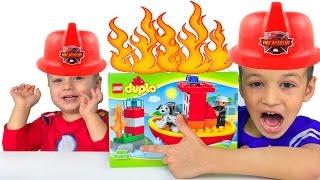 пожарная станция Лего Дупло Как пожарные тушат пожар Лего пожарный катер Видео для Детей