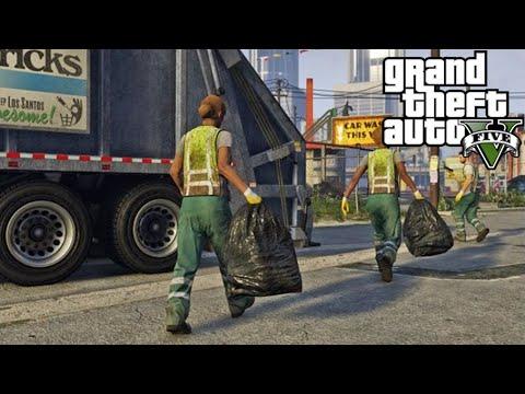 GTA V - Online Virei Lixeiro Serie A - Caminhão de Lixo Parte #2