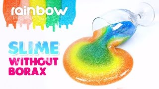 DIY Rainbow Glitter Slime! without Borax!