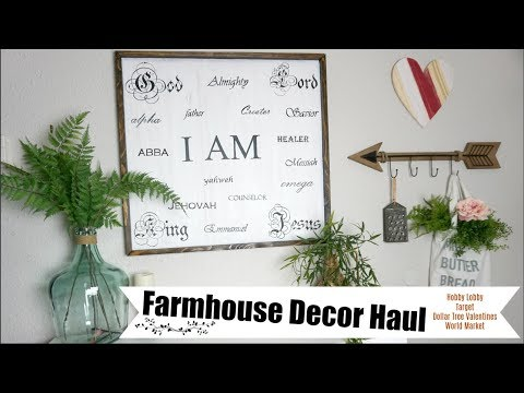 HUGE FARMHOUSE HOME DECOR HAUL  HOBBY LOBBY, WORLD MARKET, DOLLAR TREE, TARGET  Momma from scratch