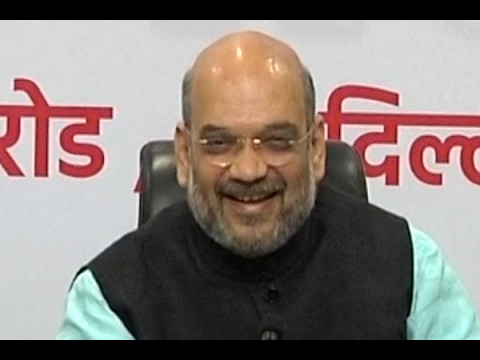 Amit Shah addresses media as Narendra Modi govt completes three years