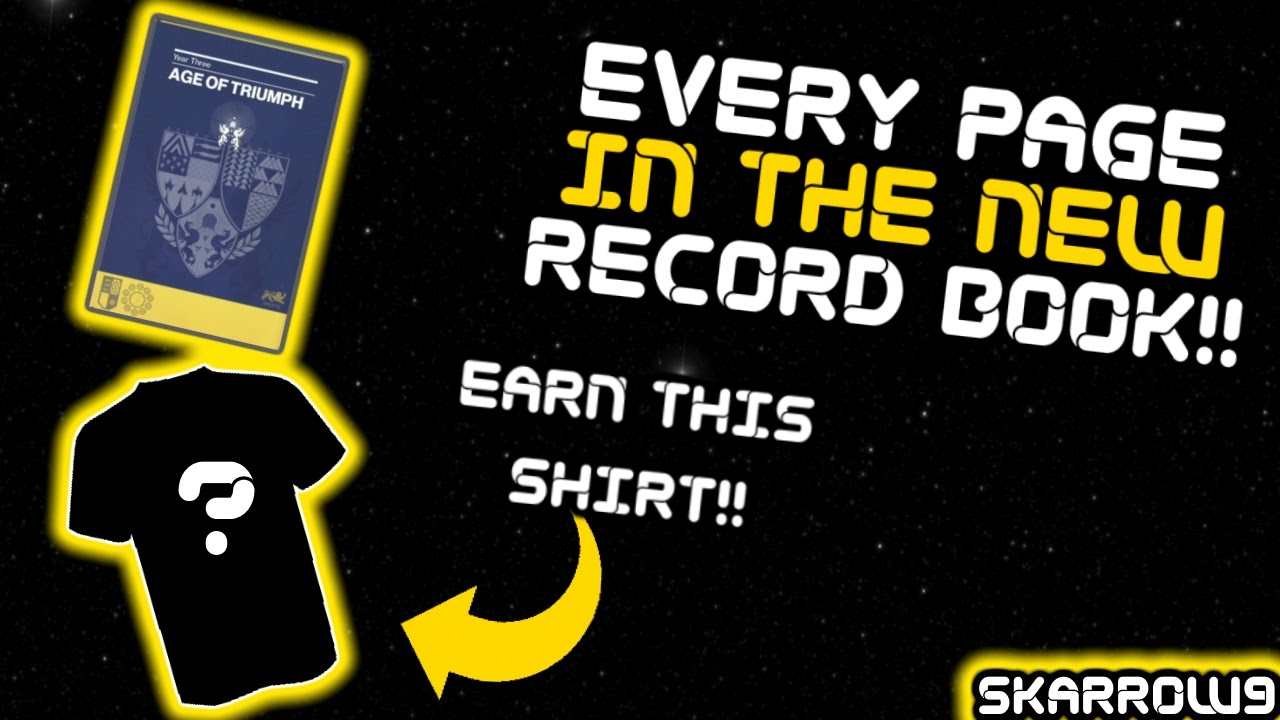 every page of the age of triumph record book!! exclusive shirt