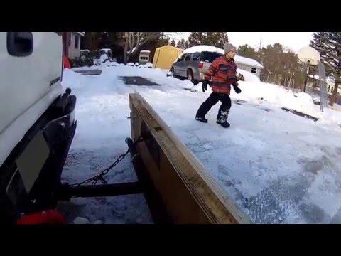 HomeMade Wooden Snow Plow, First Test