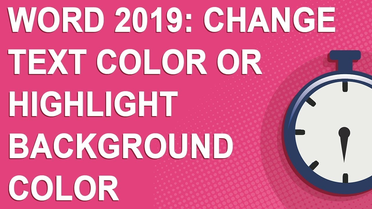Word 2019: Change text color or highlight background color (NO YOUTUBE ADS)