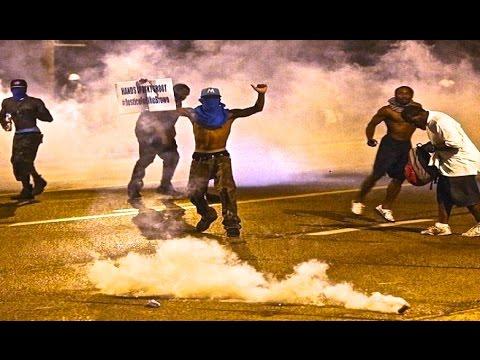 TEAR GAS - Looting Riots in Ferguson Missouri WAR Protest   Mike Brown St. Louis!