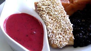 Gebratener Lachs mit Honig-Sesam-Mantel