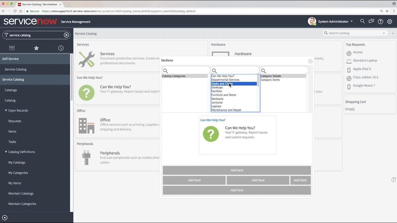 Service catalog categories | ServiceNow Docs