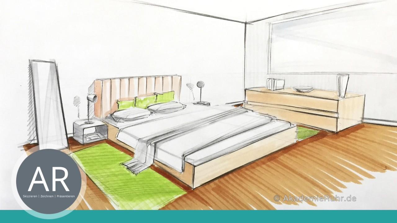 Innenarchitektur zeichnen lernen  Innenarchitektur Skizzen. Räume skizzieren. Marker-Skizzen ...