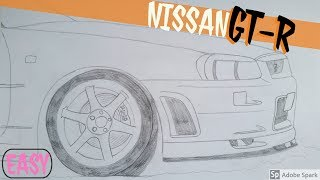 draw jdm easy r34 skyline nissan gt