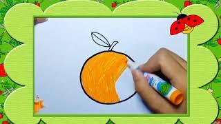 Bé tập vẽ quả cam