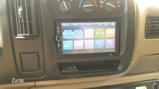 Cheap 50$ 7018B Double DIN Touch Screen Radio install in 2002 GMC Savana Project Van