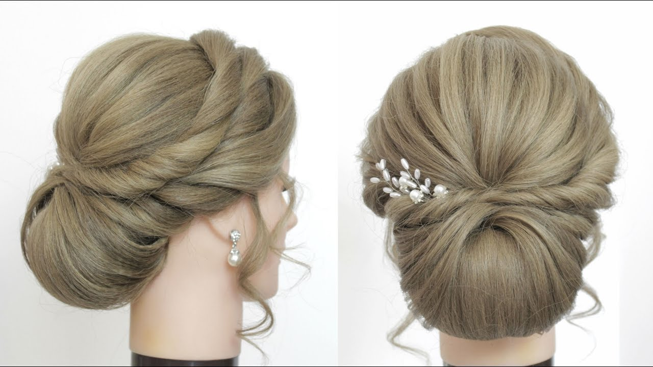 bridal updo for long hair. new low bun hairstyle tutorial.