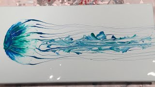 (144) Acrylic Pouring  - Flow Art  - Jellyfish Using Blowing and String Pull Technique