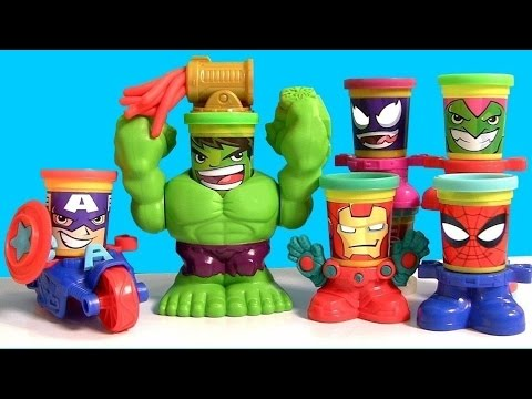 Play Doh CAN HEADS MARVEL Smashdown Hulk Featuring Iron Man, Spiderman, Venom, Captain America 2015