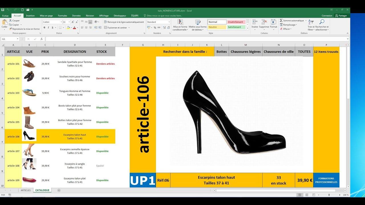 Excel Vba Nomenclature Et Catalogue De Produits