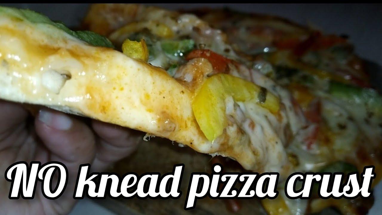 Roti Pizza Tanpa Ulen No Knead Pizza Crust Youtube