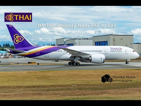 HS-TQF Thai Airways latest Boeing 787-8 delivery flight from PAE Everett to Bangkok Intl Thailand