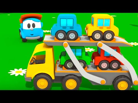 Toy Trucks Tutitu style - Leo JUNIOR'S CAR TRANSPORTER! Kid's 3D Educational Construction Cartoons