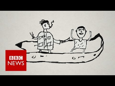 Omar draws his journey from Syria to Calais - BBC News