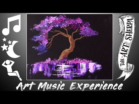 Purple Tree Q-tip Easy Acrylic Painting Technique For Beginners Relaxing Music