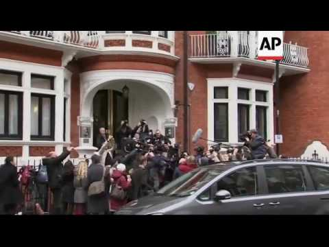 Raw: Prosecutors Arrive to Question Assange