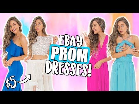TRYING ON EBAY PROM DRESSES UNDER $15?! Cheap Dresses I Bought Online! ( eBay + Amazon )