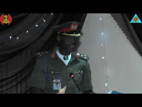 The Acting Director Legal Services Brig Gen YI Shalangwa presenting his lecture