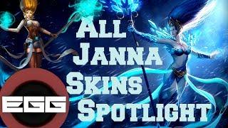 All Janna Skins Spotlight - League of Legends Skin Review [HD]