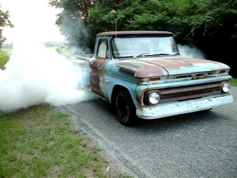 66 Chevy C10 Burnout - YouTube