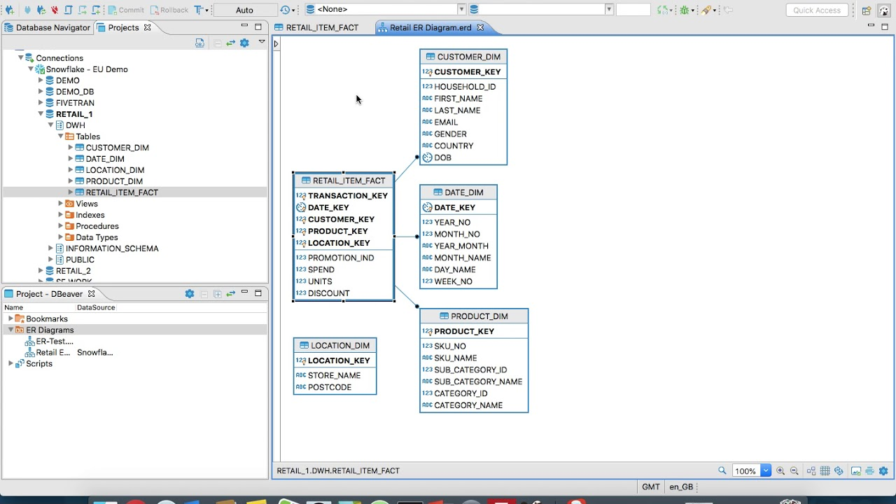 querying and modelling in snowflake using dbeaver youtube er diagram for hospital er diagrams in dim [ 1280 x 720 Pixel ]