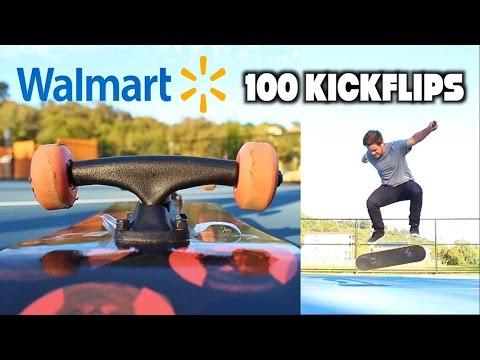 100 KICKFLIPS ON A WALMART BOARD CHALLENGE!