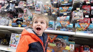 MONSTER TRUCK TOY SHOPPING AT WALMART!  (Toy Hunting With Clark)