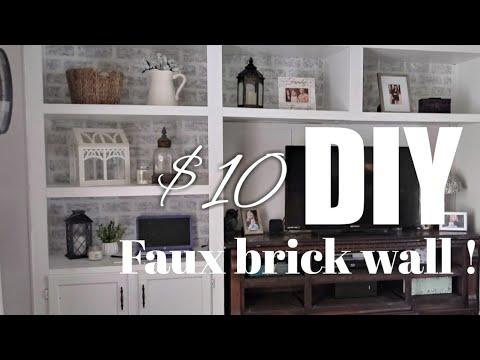 $10 DIY BRICK WALL| DIY ON A BUDGET | Farmhouse decor | Painting a brick wall 2019