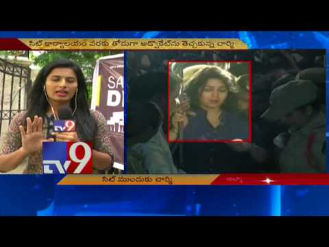 Drugs Case - Charmy reaches SIT office along with lawyer and bouncers - TV9